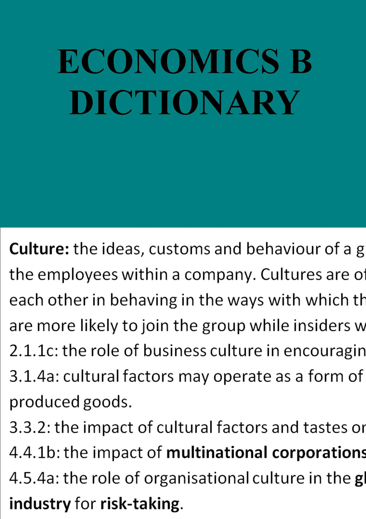 Economics B dictionary